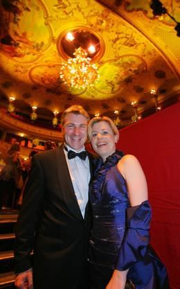 Toni Brunner und seine Lebenspartnerin Esther Friedli 2008 am 4. Opernball im Opernhaus Zürich.