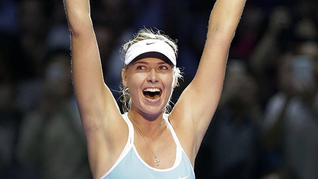 Ausgelassener Jubel: Maria Scharapowa gewann an den WTA-Finals in Singapur auch ihre zweite Partie