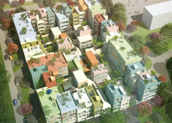 In Emmen bald möglich, trotz Garten und Terrassen, näher zusammenzurücken. Projekt von MVRDV.