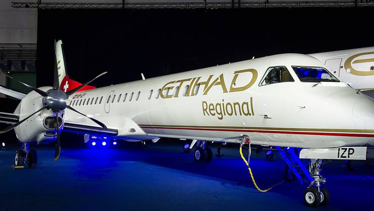 Da hatte Darwin noch andere Pläne: Flugzeug der Tessiner Airline bei der Präsentation der Ethiad-Regional-Strategie im Januar 2014.