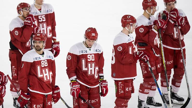 Konsternierte Gesichter bei den Spielern des Lausanne HC. Auch gegen Biel reichte es nicht zum Sieg