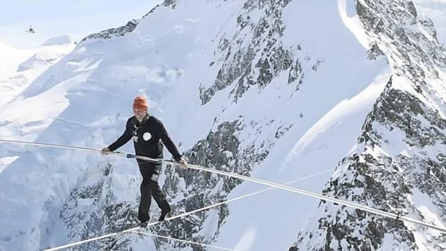 «Höchster Seillauf»: Freddy Nocks neuester Weltrekordversuch in den Bündner Bergen.