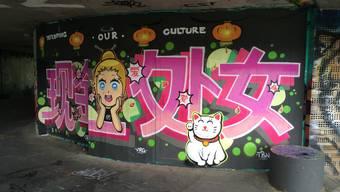 Graffitis auf der Hochbrücke Neuenhof-Wettingen
