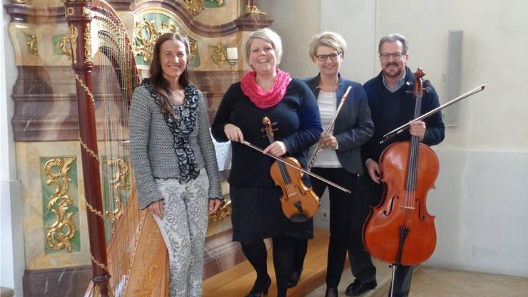 Von links: Die Harfenistin Praxedis Hug, mit dem Trio flautarco um Franziska von Arb, Barbara Junker und Rolf Bögli.