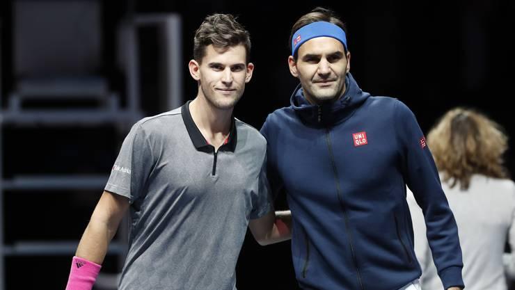 Hier ist Dominic Thiem (links) noch guter Dinge. Das zweite Gruppenspiel gegen Roger Federer steht bevor.