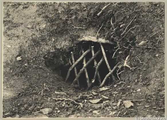 Ein verbarrikadierter Fuchsbau von 1934