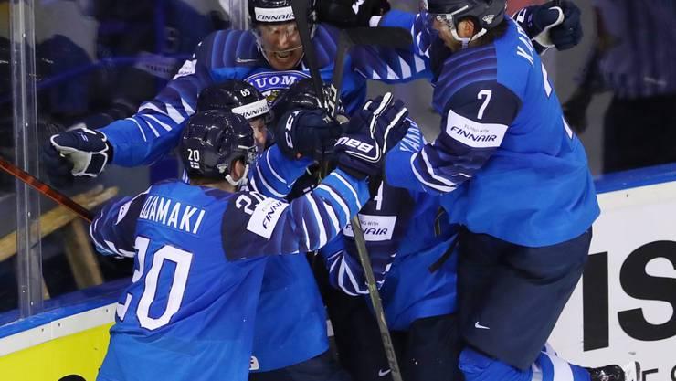 Jubeln die finnischen Spieler auch nach dem Halbfinal gegen Russland?