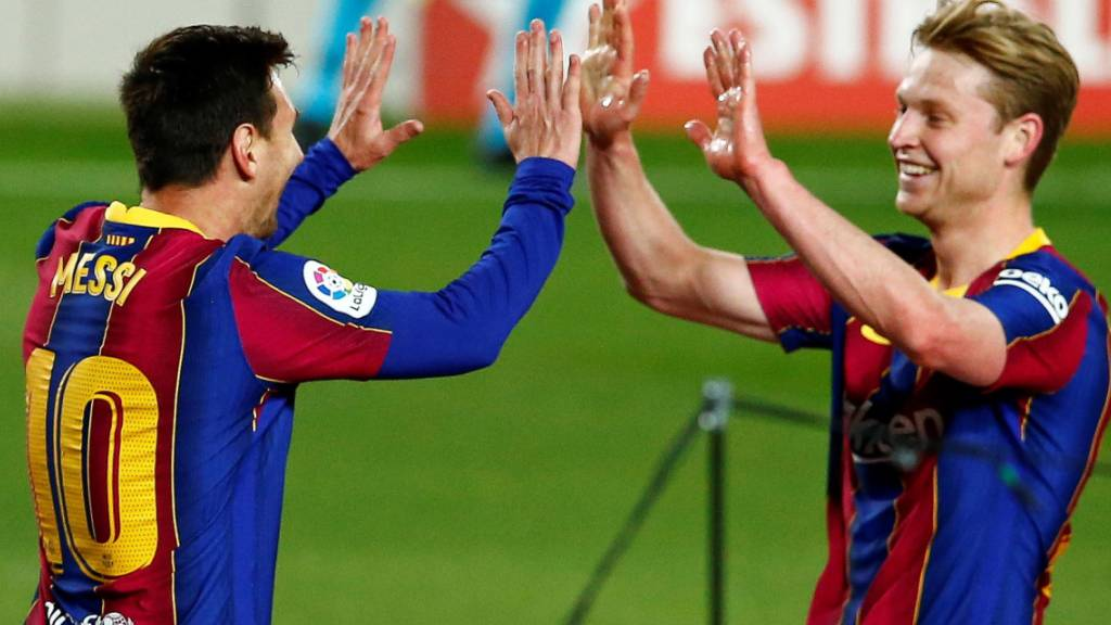 Abklatschen mit Frenkie De Jong: Lionel Messi überzeugte im Match gegen Getafe einmal mehr als Goalgetter
