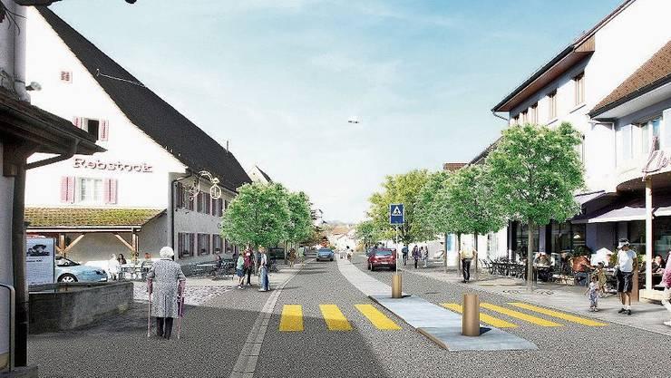 So könnte die Hauptstrasse nach der Sanierung aussehen.