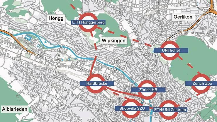 Die «Circle Line» (gestrichelt die Tunnels) verliefe mehrheitlich unterirdisch.