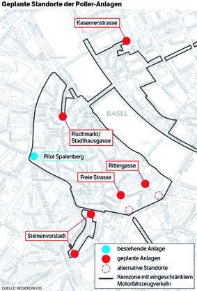 Die geplanten Poller-Standorte.