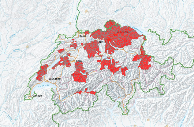 Die roten Gebiete auf der Karte zeigen, wo eine FSME-Impfung empfohlen wird.