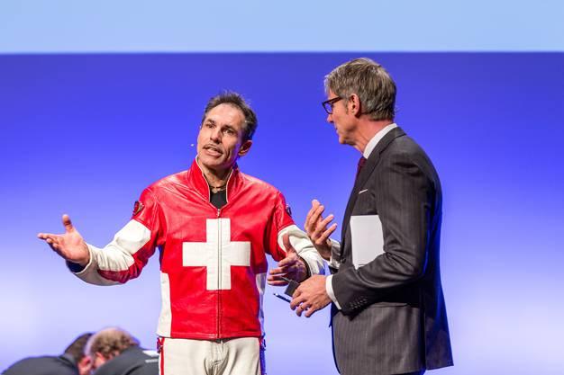 Im Bild im Gespräch mit Moderator Franz Fischlin.