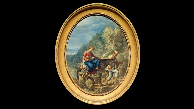 Nur gerade 9,8 x 7,6 cm gross: Adam Elsheimer, «Die Flucht nach Ägypten», um 1605. Öl auf Kupfer, versilbert.