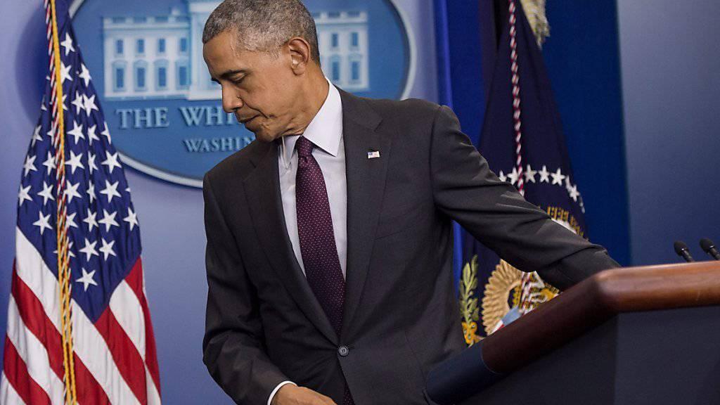 Obama ist resigniert: Nicht nur die Schiessereien seien zur Routine, sondern auch seine vom Kongress ungehörten Forderungen.