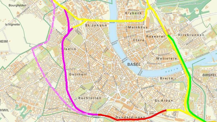 Ein Ring um Basel mit bestehender Autobahn (gelb), Bypass Ost (grün), Gundeli-Tunnel (rot), West-Tunnel (lila) oder Stadttangente (rosa).