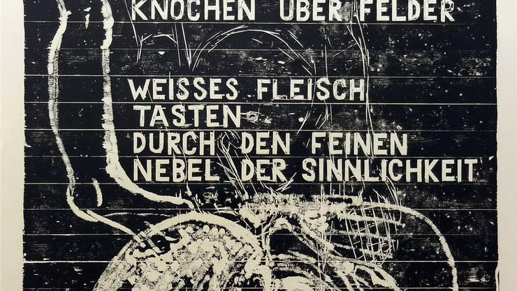 Es muss nicht immer Leinwand sein: Holzschnitte auf Riemenparkett des Ostschweizer Bildhauers Josef Felix Müller.