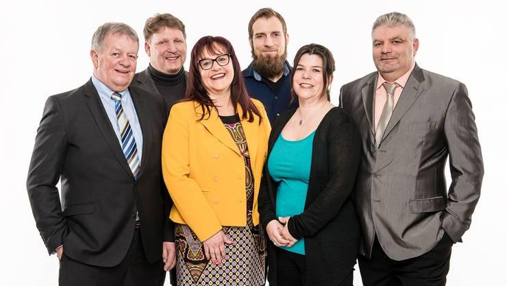 Kandidieren für die FDP (v.l.): Theodor Hafner, Christoph Iseli, Linda Bader, Dirk Weber, Sandra Miescher und Michele Gervasi.