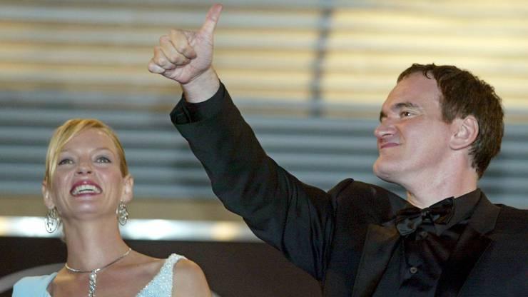 """""""Kill Bill""""-Star Uma Thurman mit Regisseur Quentin Tarantino."""