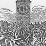 25 Tote und 297 Verletzte: ein Holzschnitt aus dem Zürcher Kalender 1821. Die reformierte Kirche Gossau thront hoch oben auf dem Berg. Bei ihrem Bau ist nicht alles sauber gelaufen.