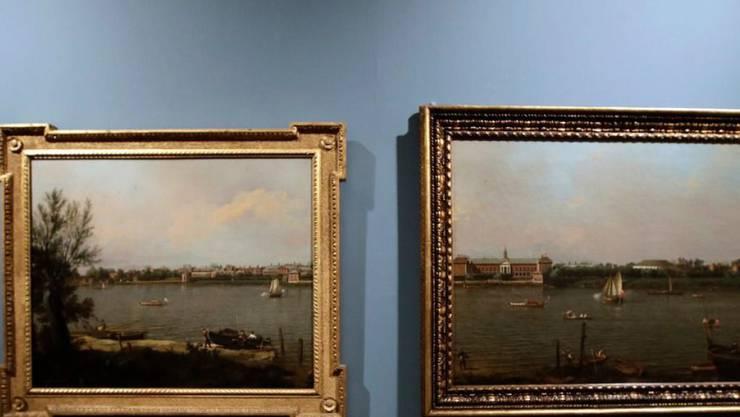 """Highlight der Ausstellung """"Canaletto 1697-1768"""" in Rom: Die beiden Hälften des nach Canalettos Tod zweigeteilten Gemäldes """"Chelsea from the Thames and Battersea Reach"""" sind erstmals wieder gemeinsam ausgestellt."""