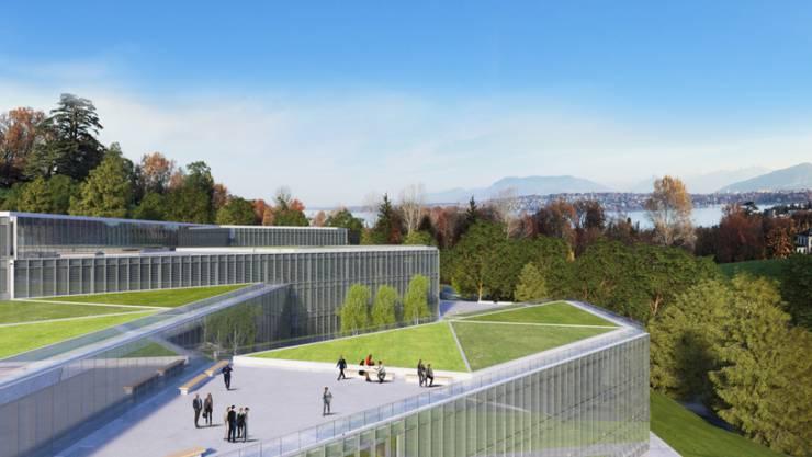 Implenia hat von der UNO den Zuschlag erhalten für das neue Verwaltungsgebäude, welches auf Nachhaltigkeit angelegt ist. (Visulaisierung).