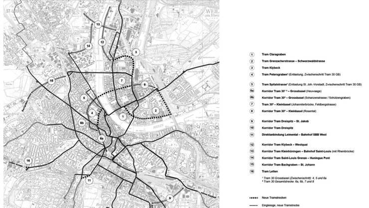 Plan über den Ausbau des Tramstreckennetzes, Stand Januar 2020
