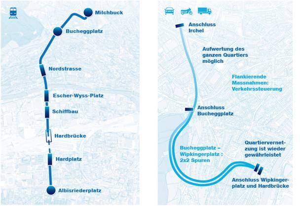Rosengartentram (links) und -tunnel sollen den Verkehrsknoten in Zürich lösen. Der Regierungsrat präsentierte am 1. Oktober diese Lösung.