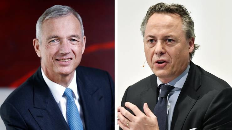 UBS-Schweiz-Chef Axel Lehmann (l.) kürzt das Filialnetz, der neue UBS-Konzernchef Ralph Hamers hat den Abbau abgenickt.