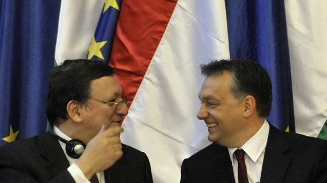 Manuel Barroso (links) und Viktor Orban in Budapest