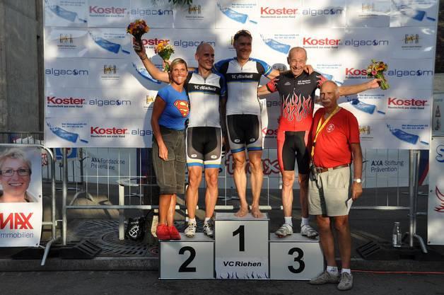 Siegerehrung Fun B, 2.Eric Zechner, 1.Patrick Schaub, 3.Siggi Schörlin