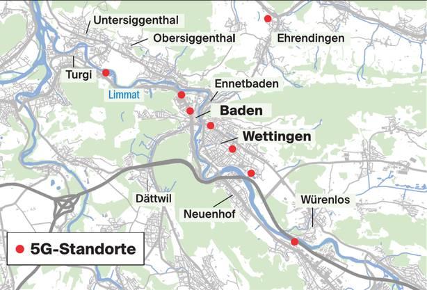 Alle 5G-Antennen im Bezirk Baden, die bereits in Betrieb sind.