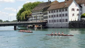 Ruderclub Solothurn ist mit allen Booten auf der Aare bei Solothurn unterwegs