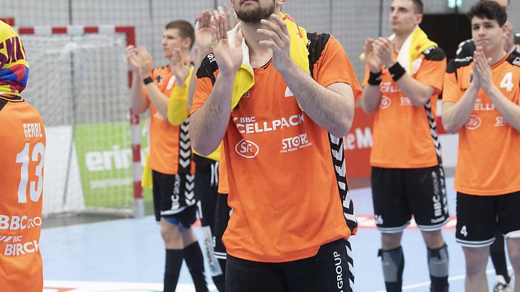 Lange Gesichter bei den Spielern der Kadetten Schaffhausen nach der Playoff-Startniederlage gegen den RTV Basel