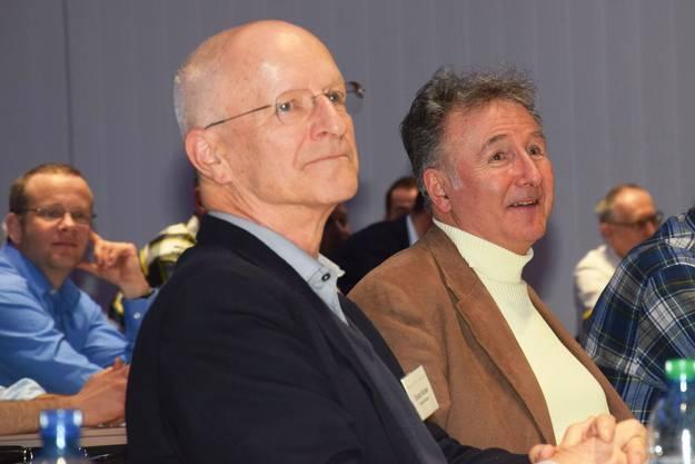 Weltraum-Experte Bruno Stanek - hier neben Claude Nicollier - ist ebenfalls unter den Zuhörern