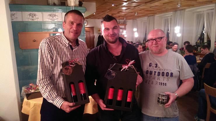 Die Gewinner des Aktivstichs v.l.n.r.: Thomas Huber, Sandro Meier, Jürg Hitz
