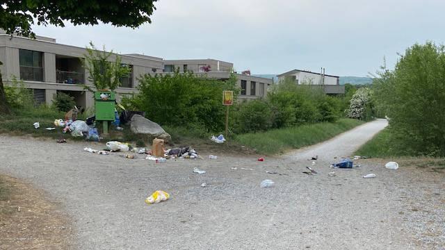 Sobald die Abfalleimer bei der Engstringerbrücke entlang der Limmat voll sind, wird viel Müll einfach daneben liegen gelassen.