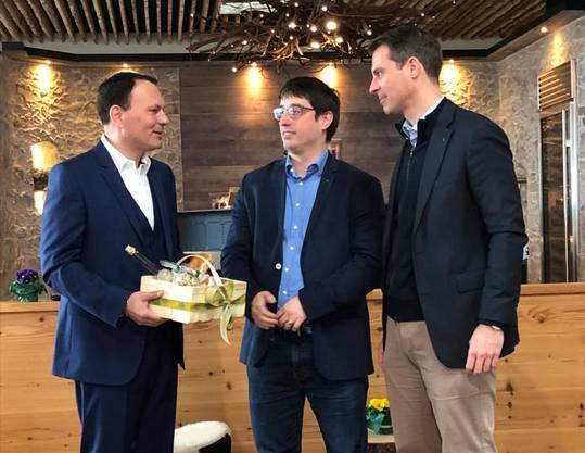 Nicolas Abbondanza, Präsident FDP Merenschwand, Grossrat Stefan Huwyler (Muri), Ständerat Thierry Burkart (Baden)