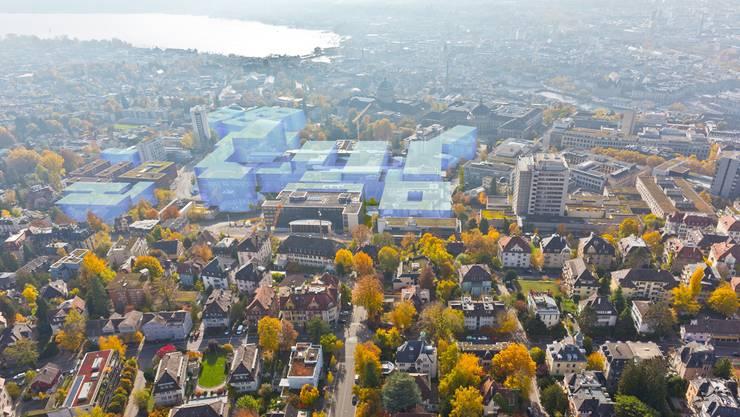 Rund um die im Stadtzentrum gelegenen Hauptgebäude von Universität, Universitätsspital und ETH sollen in den nächsten rund 30 Jahren neue Gebäude, Parks und ein Campus-Boulevard entstehen.