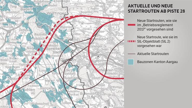 Die neuen Startrouten (rot) würden Wettingen und Würenlos stärker belasten als die bestehenden (braun).