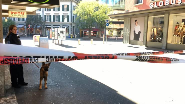 Am 1.11.2018 gab es in der Badener Innenstadt einen Grosseinsatz - wegen einer vermeintlichen Bombe. (Archivbild)