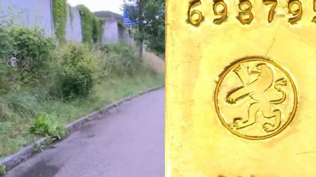 Goldfund in Klingnau: Fundort und Fundgegenstand. Ein Eigentümer liess sich bis heute nicht ermitteln.