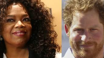 Spannen für eine Apple-Serie über psychische Gesundheit zusammen: US-Moderatorin Oprah Winfrey (links) und der britische Prinz Harry. (Archivbilder)