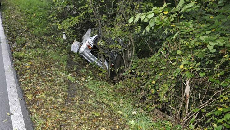 Bei dem Selbstunfall fuhr das Auto einige Meter die Böschung runter und blieb an einem Baum hängen.