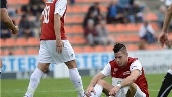 Ratlose Solothurner nach der 0:4-Niederlage in Münsingen. Foto: Bieri/Archiv