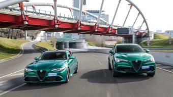 Alfa Romeo Giulia QV (links) und Stelvio QV.