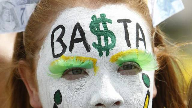 Demonstration gegen Korruption in der Regierung von Dilma Rousseff