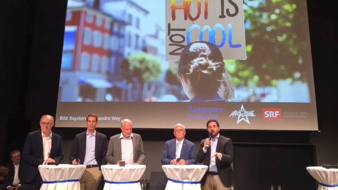 Podium mit den Aargauer Ständeratskandidaten vom 19.9. in Baden – die Klimadebatte