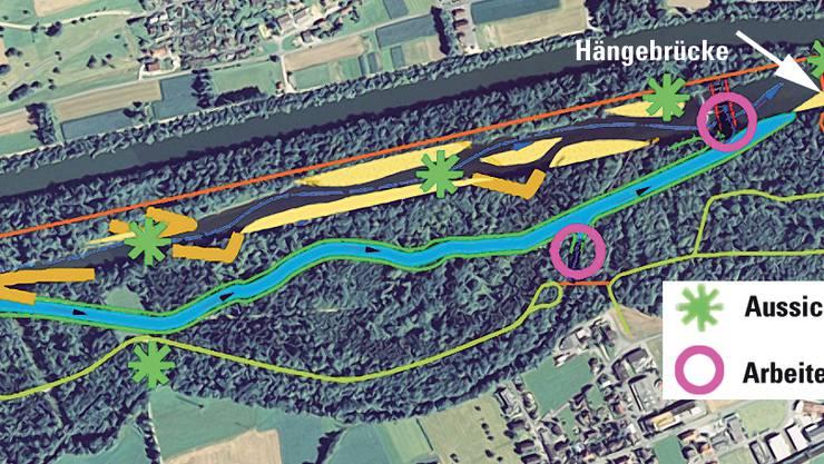 Projektübersicht: Zwischen Auensteiner Brücke und Kläranlage soll südlich des Unterwasserkanals und der alten Aare ein neuer Seitenarm geschaffen werden. (ho)