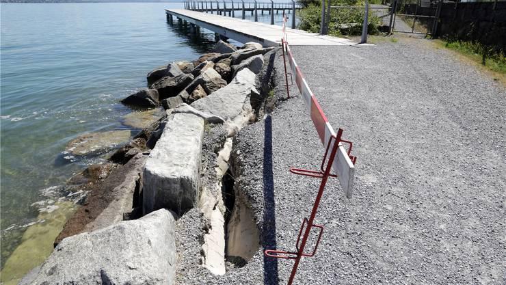 Der Seeuferweg zwischen Richterswil und Wädenswilbröckelt teilweise ab. Er soll im Winter repariert werden. David Baer